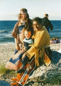 Joseph and friends on Findhorn beach c.1987